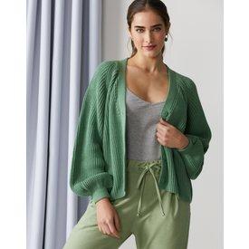 cardigan pesado mangas bufantes, verde claro