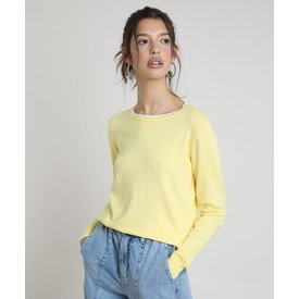 suéter tricô feminino básico bicolor decote redondo amarela