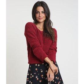 suéter feminino tricô texturizado decote redondo vermelho