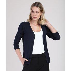 cardigan feminino básico tricô decote v azul marinho