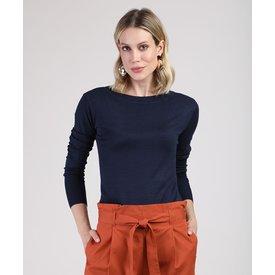 suéter feminino básico tricô decote redondo azul marinho