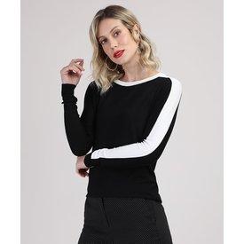 suéter tricô feminino faixa manga preto