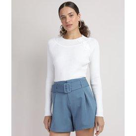suéter tricô feminino botões decote redondo off white