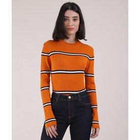 suéter feminino básico tricô listrado decote redondo laranja