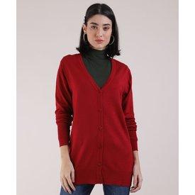 cardigan tricô feminino decote v vermelho escuro