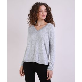 suéter feminino tricô manga longa decote v cinza mescla