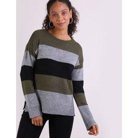suéter feminino tricô listrado decote redondo cinza mescla