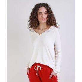 suéter feminino tricô manga longa decote v off white