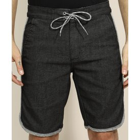 bermuda sarja masculina viés bolso preta