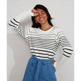 suéter tricô feminino listras decote redondo off white