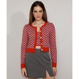 cardigan tricô feminino mindset cropped estampado xadrez vichy decote redondo laranja escuro