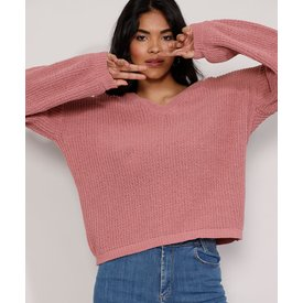 suéter tricô feminino amplo decote v rosa