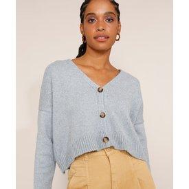 cardigan feminino tricô cropped oversized decote v azul