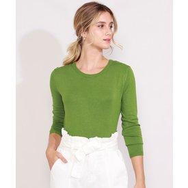 suéter tricô feminino básico decote redondo verde militar