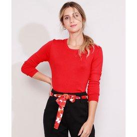 suéter tricô feminino básico decote redondo vemelho