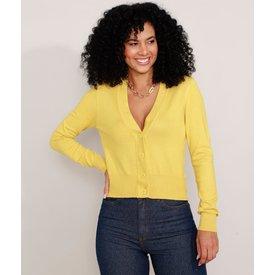 cardigan tricô básico decote v amarelo