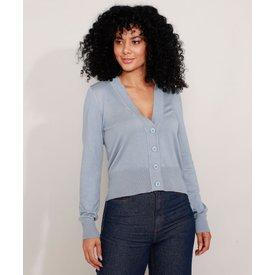 cardigan tricô básico decote v azul claro