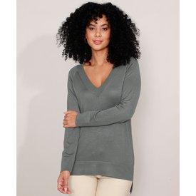 suéter tricô básico decote v verde