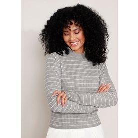 suéter tricô básico listrado canelado decote redondo cinza mescla escuro