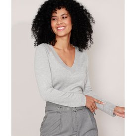 suéter tricô básico decote v cinza mescla