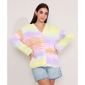 cardigan oversized tricô decote redondo multicor