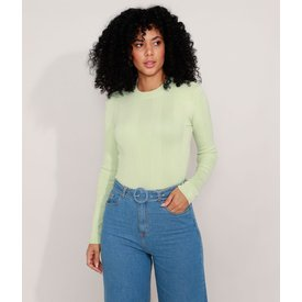 suéter tricô básico decote redondo verde claro