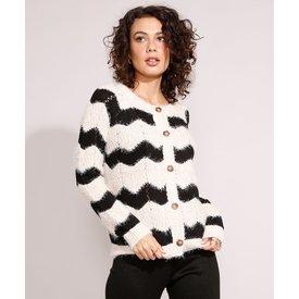 cardigan tricô felpudo estampado chevron decote redondo off white