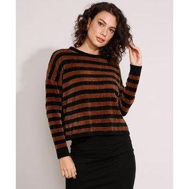 suéter amplo tricô chenille listrado decote redondo caramelo