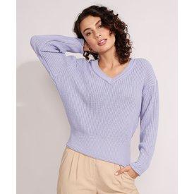 suéter tricô decote v lilás