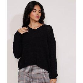 suéter tricô feminino amplo decote v preto