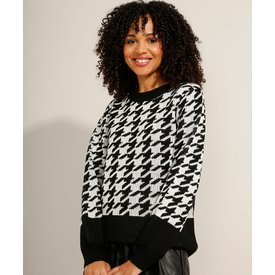 suéter tricô estampado pieddepoule preto
