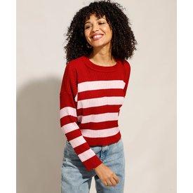 suéter tricô listrado decote redondo vermelho