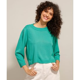 suéter tricô manga bufante decote redondo verde
