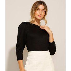 suéter tricô manga bufante decote redondo preto
