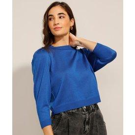 suéter tricô manga bufante decote redondo azul