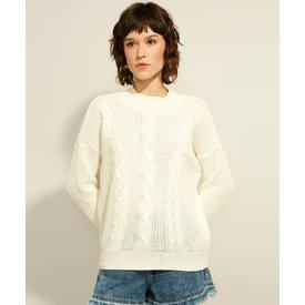 suéter tricô texturizado trança decote redondo off white