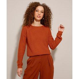 suéter tricô texturizado decote redondo laranja