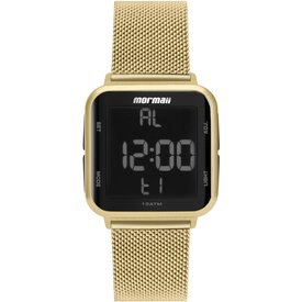 relógio mormaii feminino preto digital mo6600ah8d dourado