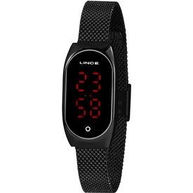 relógio feminino lince preto digital ldn4641l pxpx preto