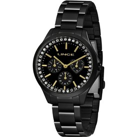 relógio feminino lince preto analógico lmnh117l p1px preto