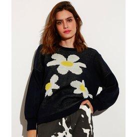 suéter amplo tricô margaridas decote redondo mindset azul escuro