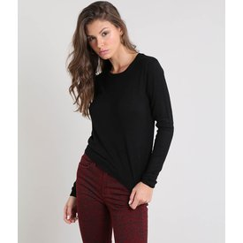suéter feminino básico tricô decote redondo preto