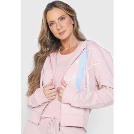 moletom aberto calvin klein underwear logo rosa