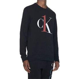 blusa moletom calvin klein graphic logo loungewear preta