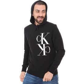 moletom calvin klein masculino logo hoodie preto