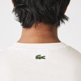 camiseta masculina algodão decote careca assinatura estampada branco