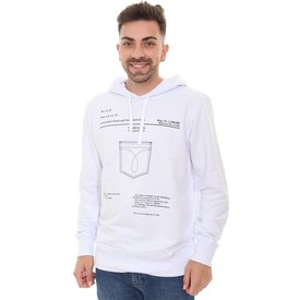 moletom calvin klein masculino hoodie trademark branco