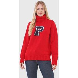 suéter polo ralph lauren lettering vermelho