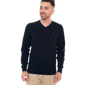 suéter tommy hilfiger masculino signature vneck azul marinho