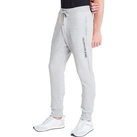 calça calvin klein masculina moletom ckj silk lateral cinza